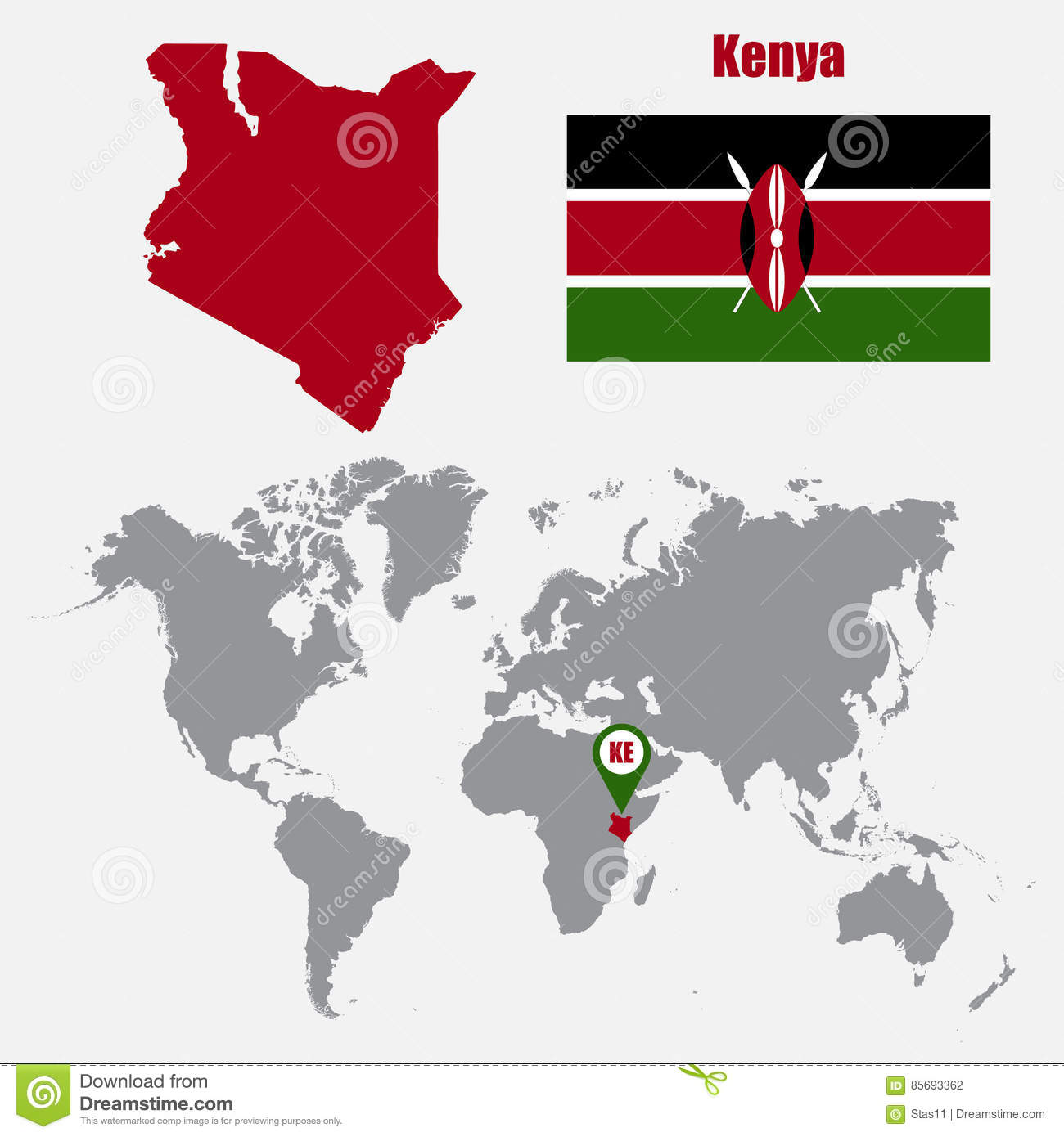 Kenya map on a world map with flag and map pointer vector download comp gumiabroncs Image collections
