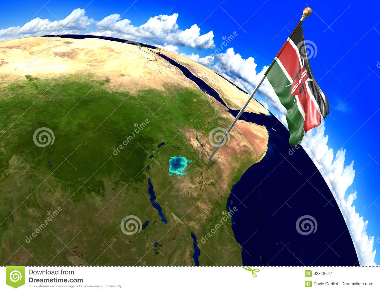 Kenya Location On World Map.Kenya National Flag Marking The Country Location On World Map 3d