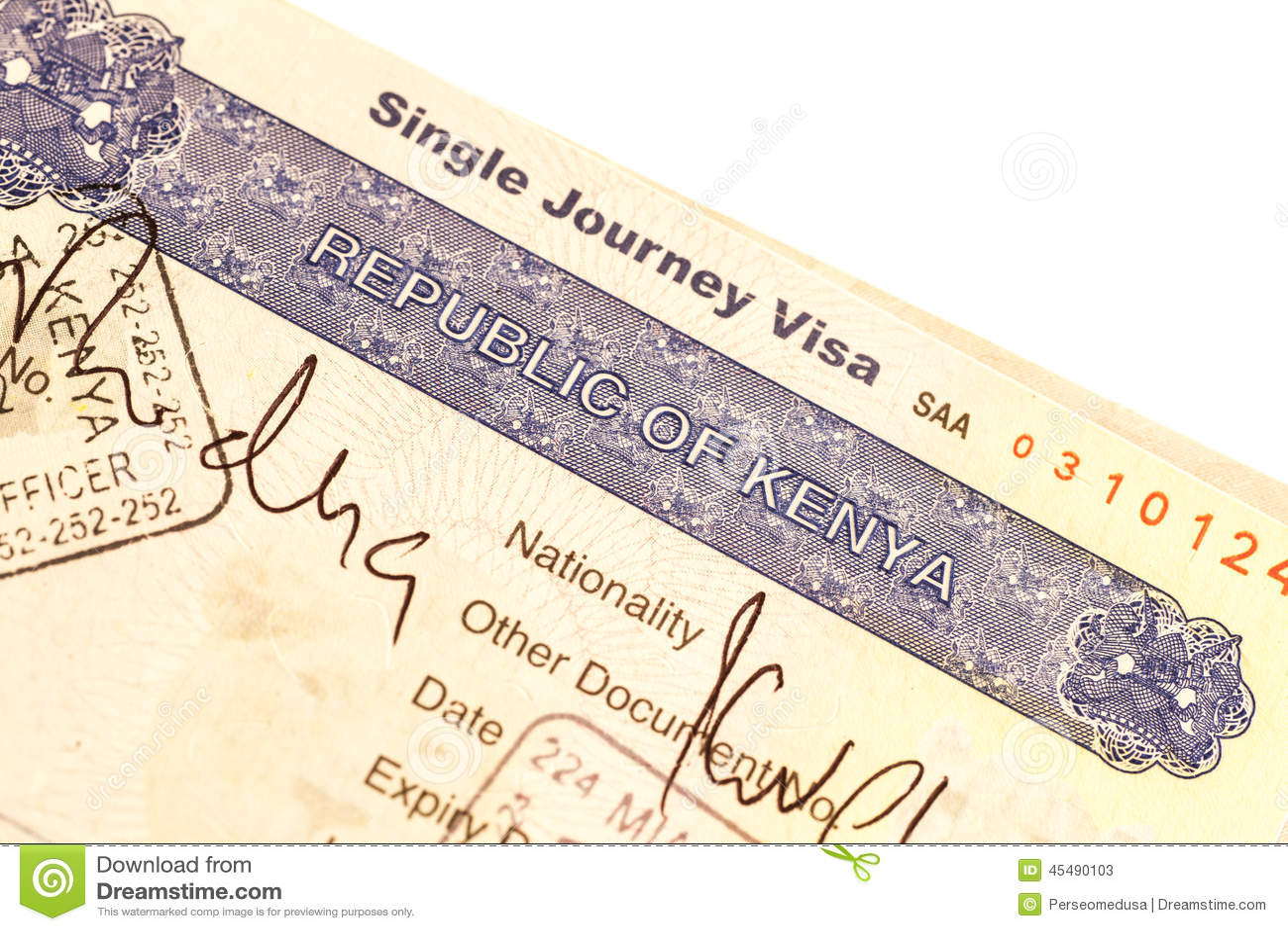Kenya Visa Stock Photo