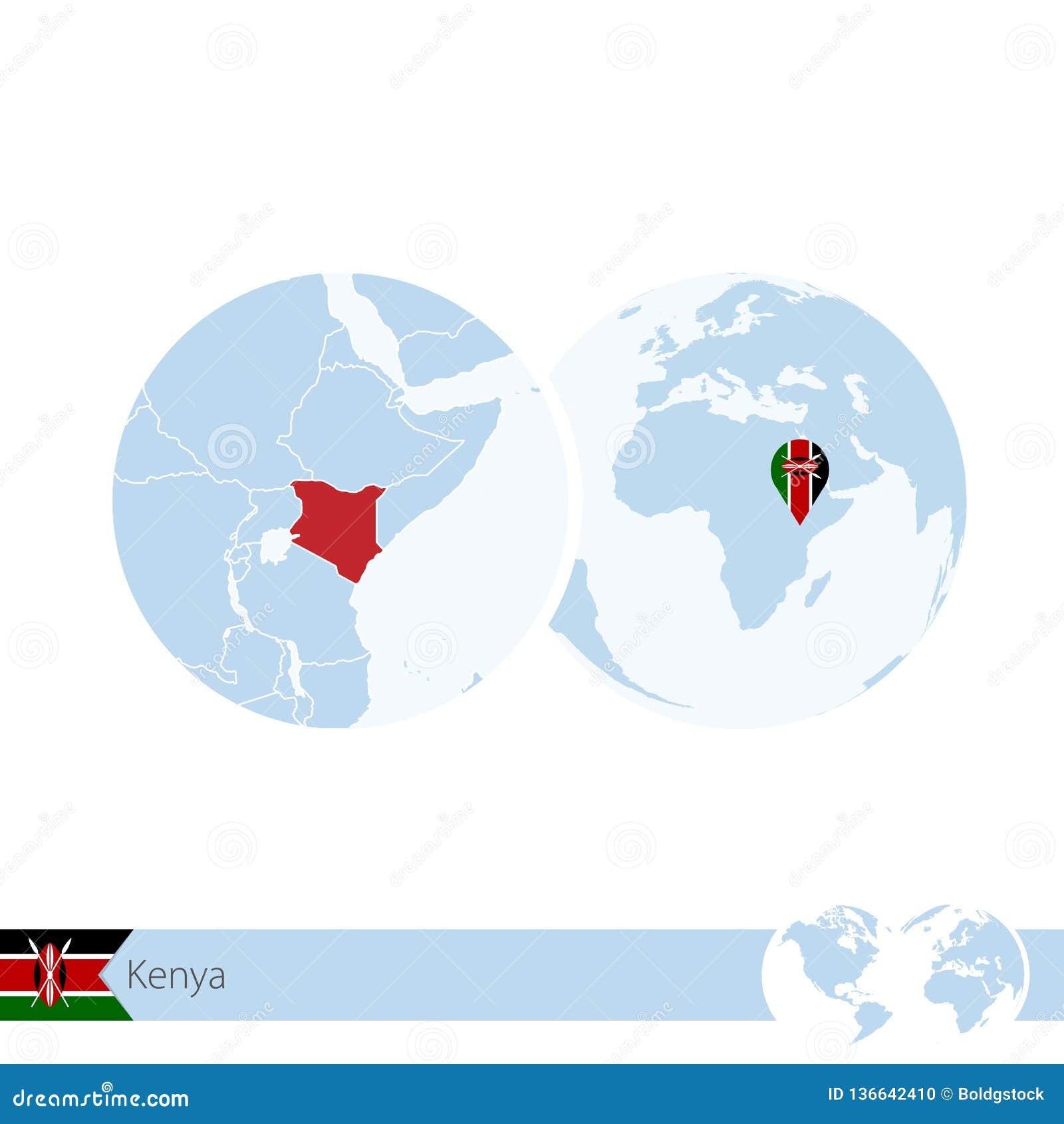 Kenya On World Globe With Flag And Regional Map Of Kenya Stock