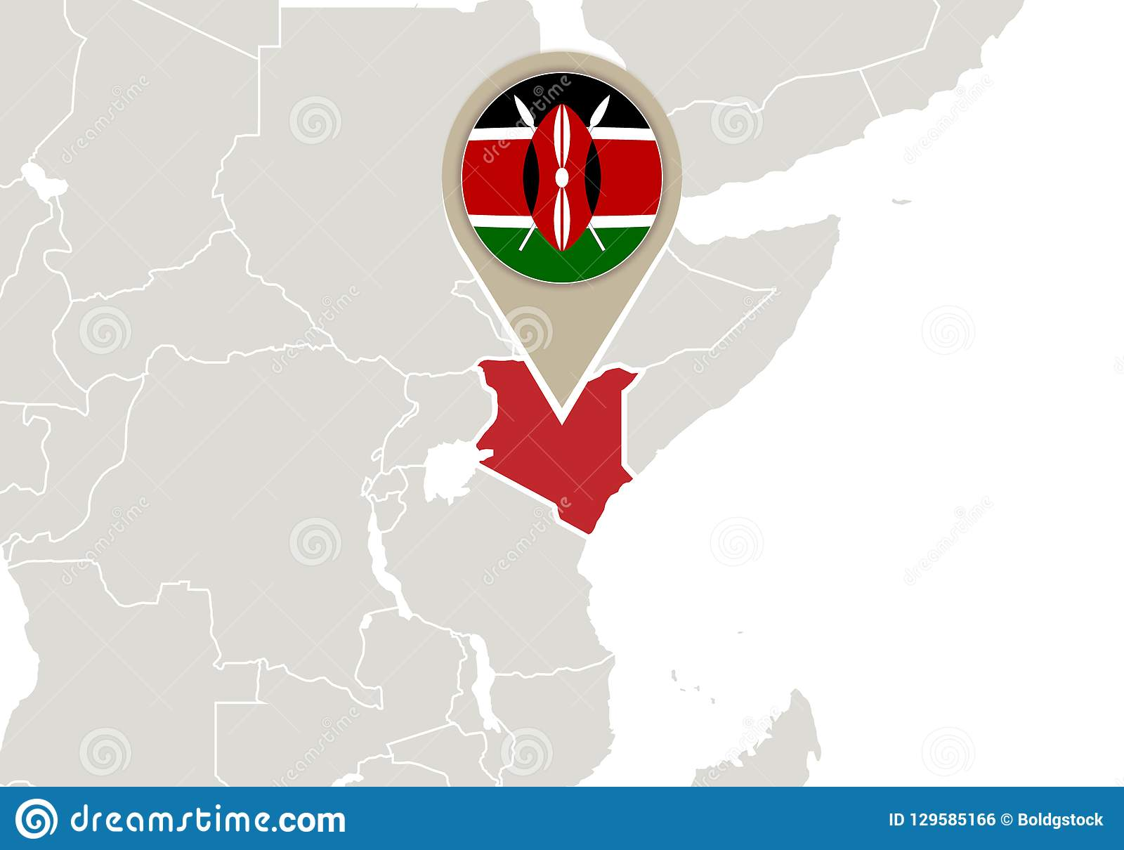 Kenya On World Map Stock Vector Illustration Of Kenya 129585166