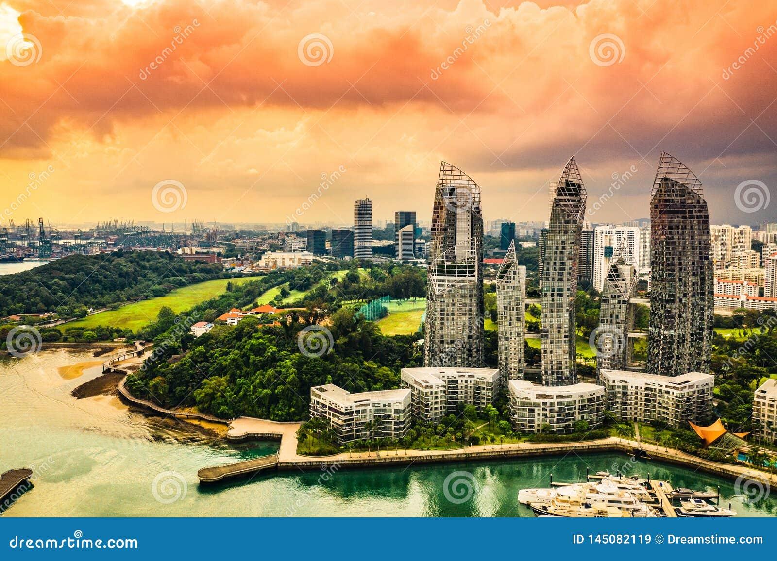 Keppel Marina Bay in Singapore - Vergelijking van Licht