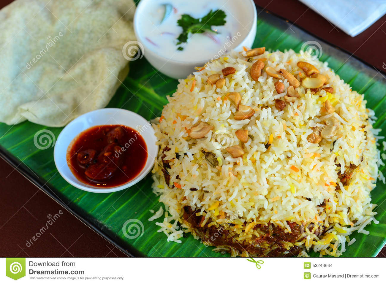 ... eggs or vegetables beef pilau served with yogurt dip and fried papad