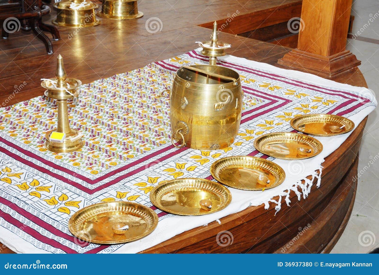 Kerala Hindu Wedding Function Arrangement Stock Photo ...