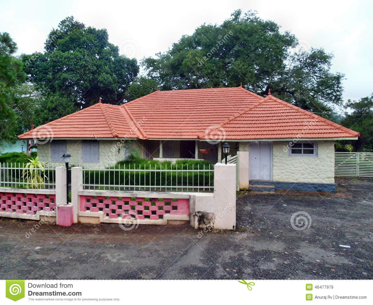 Kerala model house stock image image of building road for Traditional indian house designs