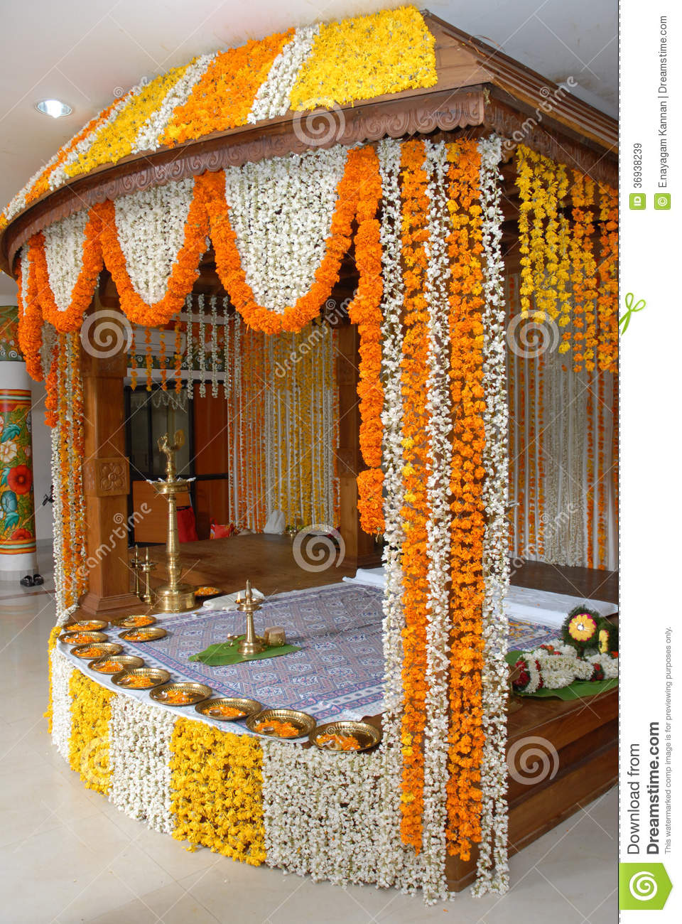 A kerala wedding flower decoration editorial stock image Home decoration lights online india