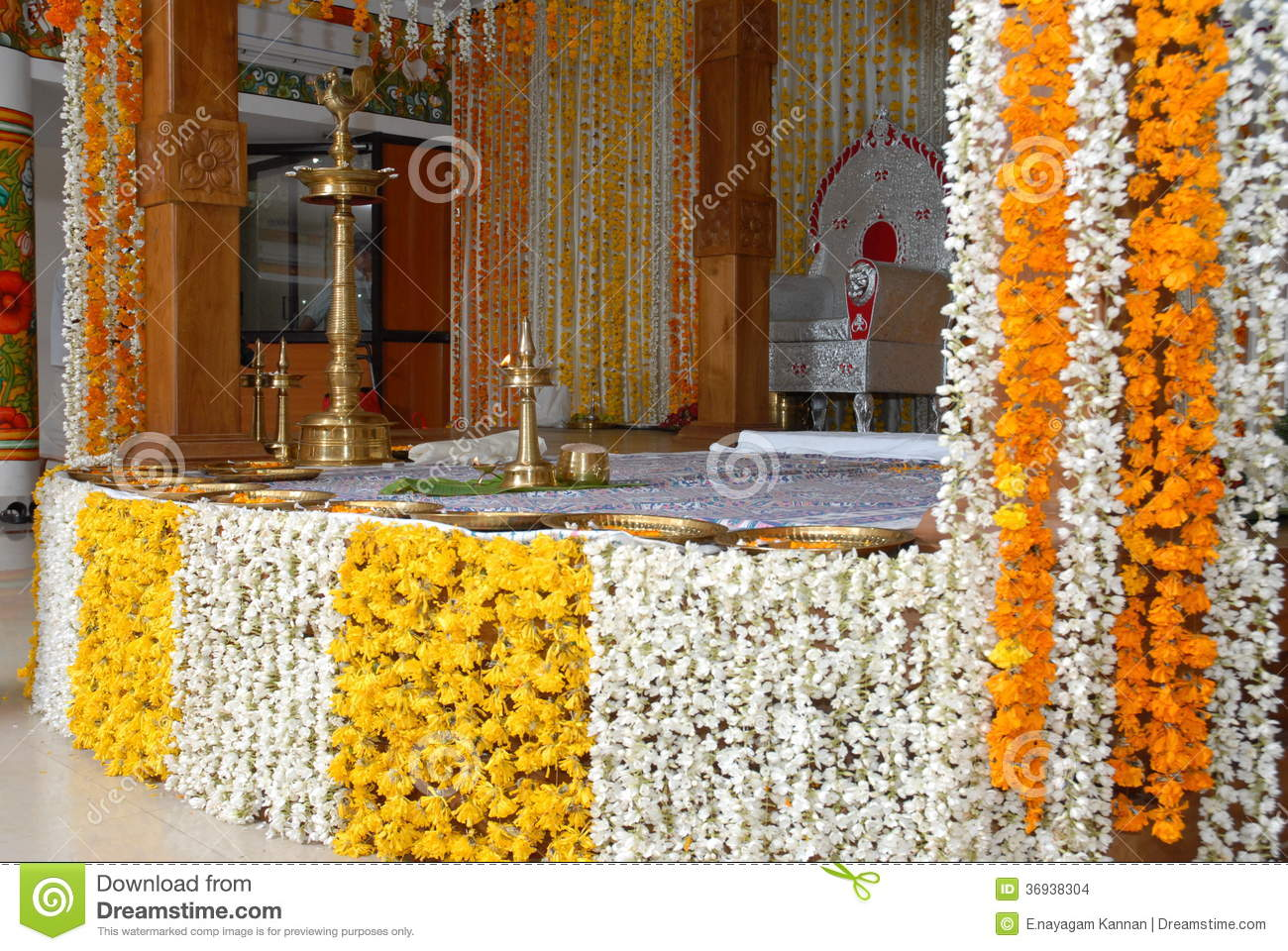 A kerala wedding flower decoration editorial stock image for Artificial flower decoration mandap
