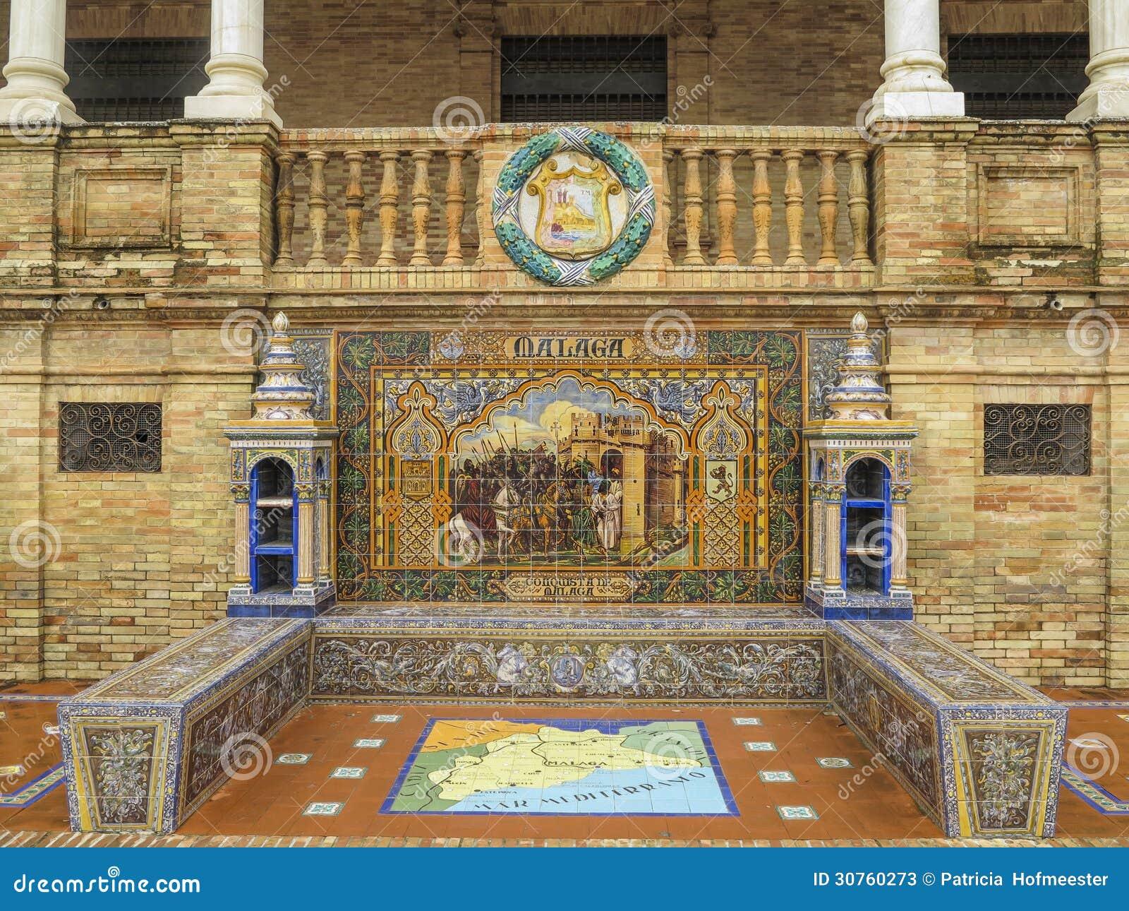 Keramische Bank Sevilla Malagas Stockbild Bild Von Schwierig