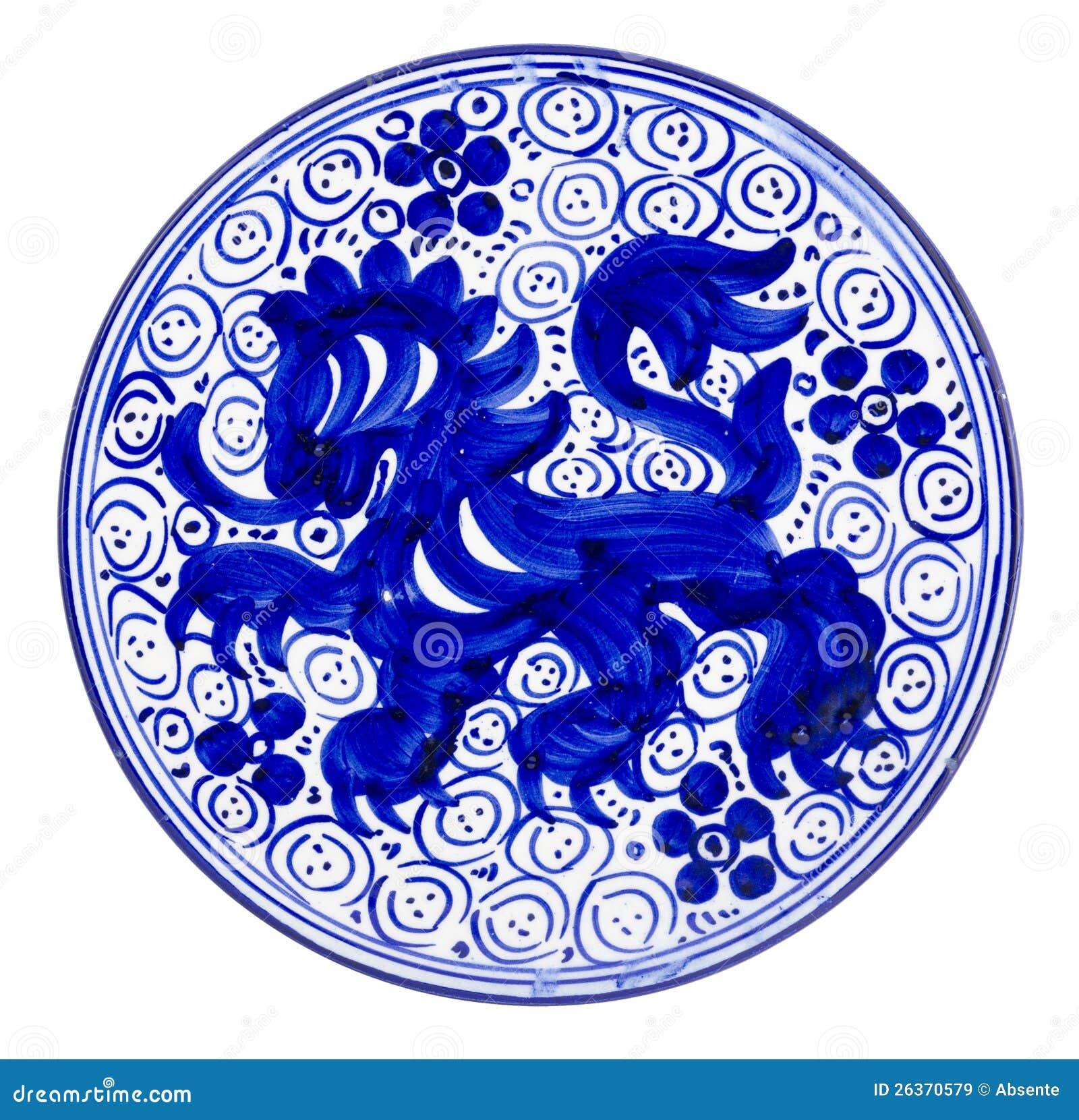 Keramischer Teller-Blau