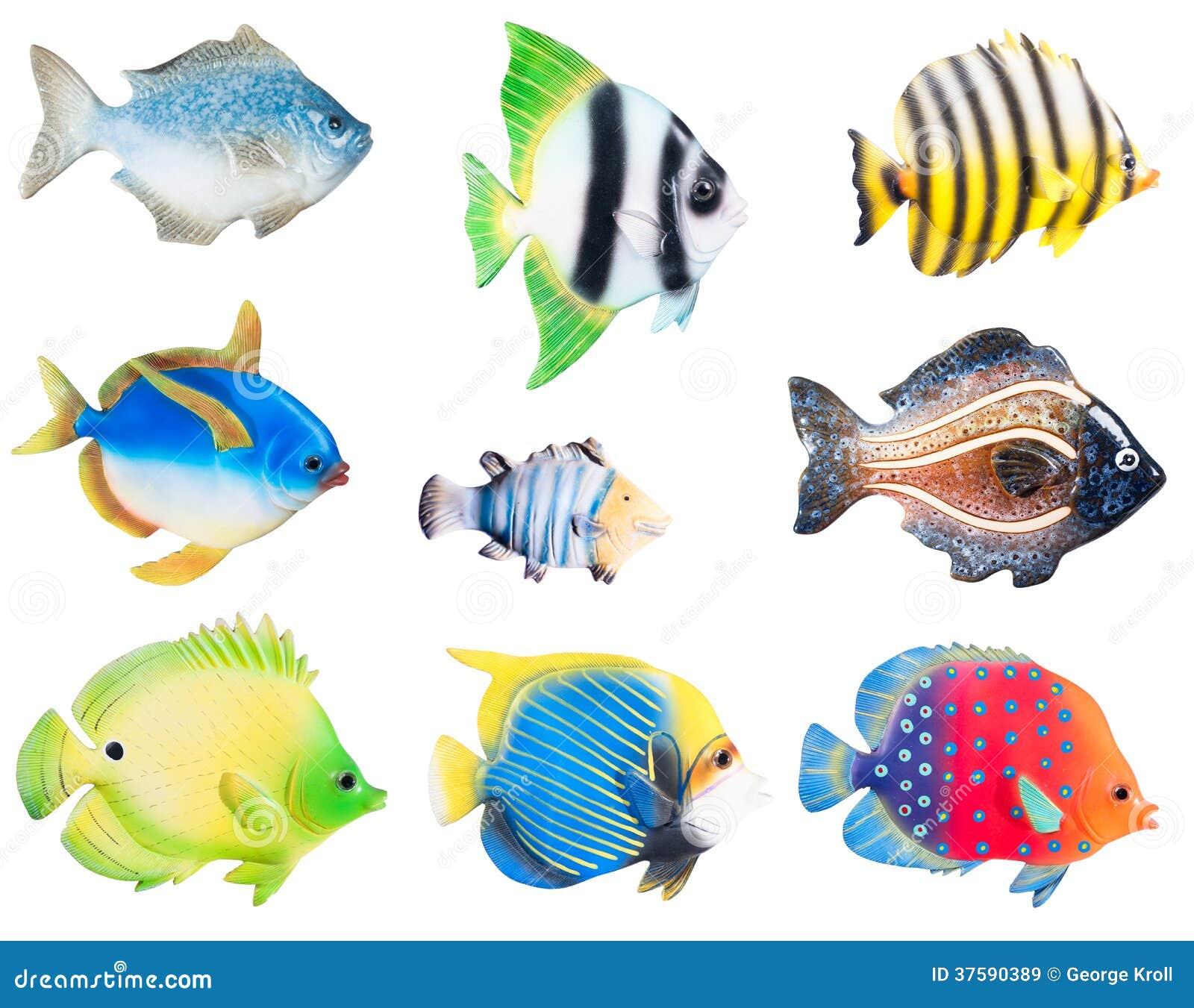 Keramisches Porzellan Dekorative Fische Stockbild Bild Von Blau