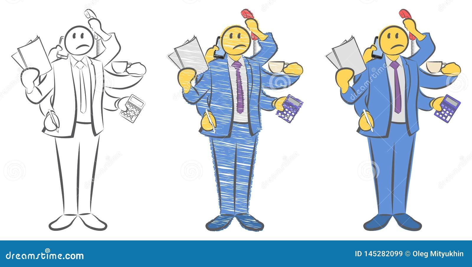 Kerel met zes handen die voorwerpen houden Arbeider met multitasking en multivaardigheid Niet genoeg handen Kan niet op tijd word