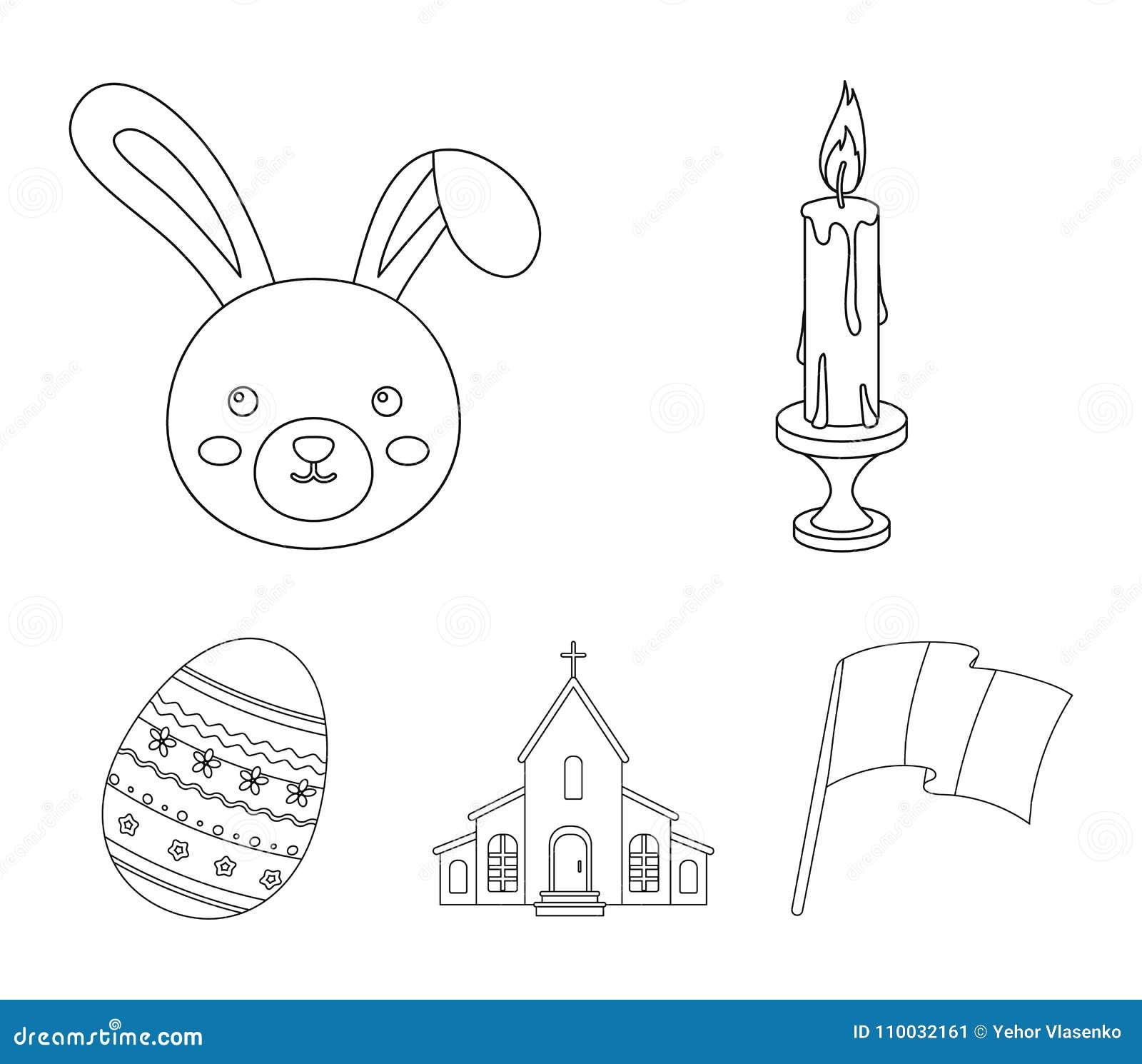 Kerk, kaars, Pasen-konijntje en geschilderd ei Vastgestelde de inzamelingspictogrammen van Pasen in vector het symboolvoorraad va