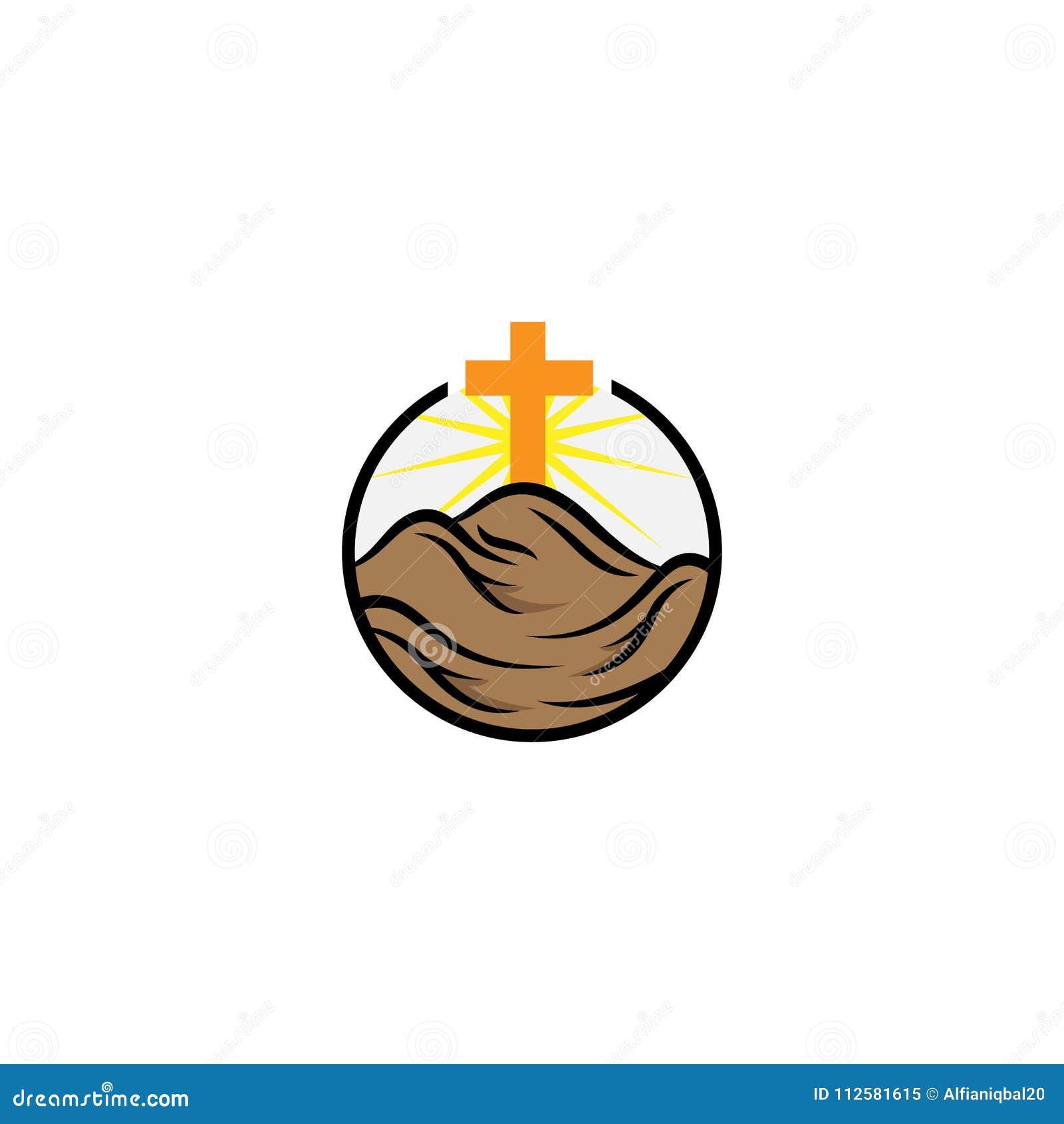 Kerk logotype in cirkel Doopsgezind kruis in bergembleem