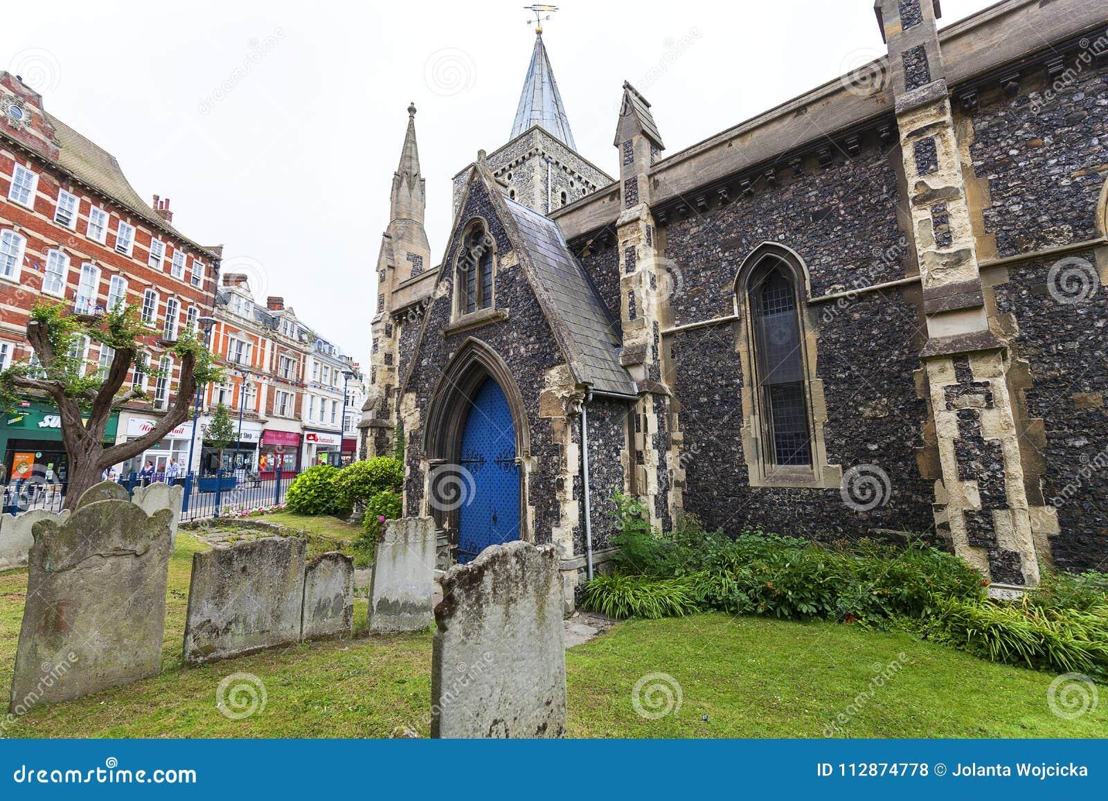 Kerk van de de 12de eeuw de Roemeense stijl van St Mary Virgin, Dover, het Verenigd Koninkrijk