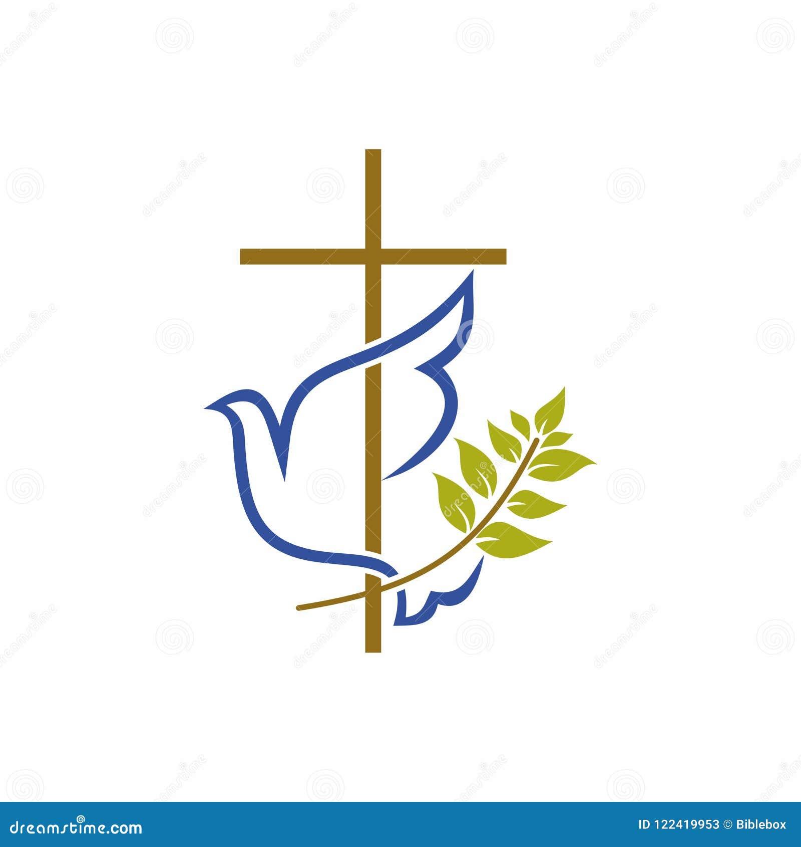 Kerkembleem Christelijke symbolen Kruis, duif en olijftak