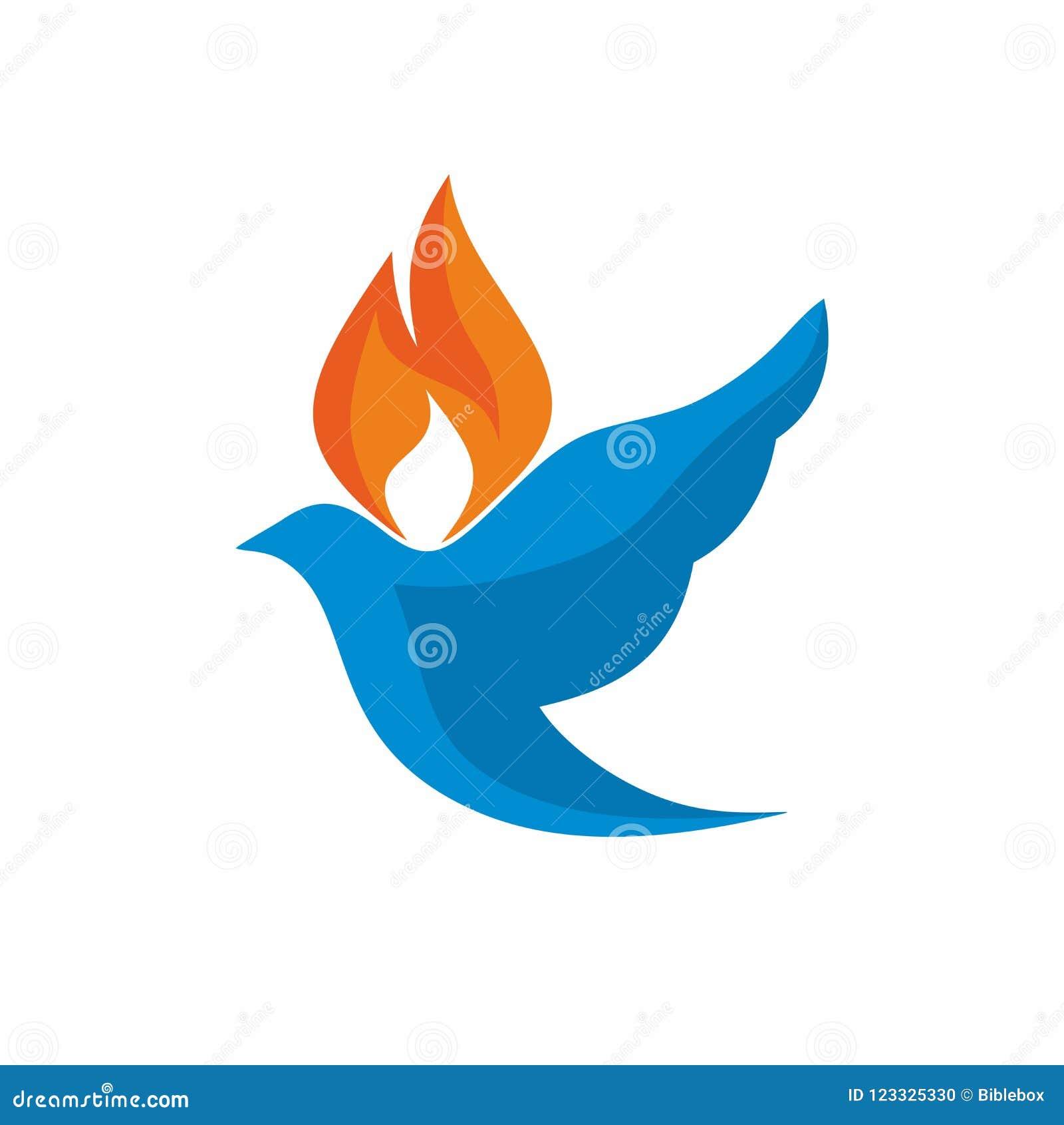 Kerkembleem De duif en de vlam zijn symbolen van de Heilige Geest