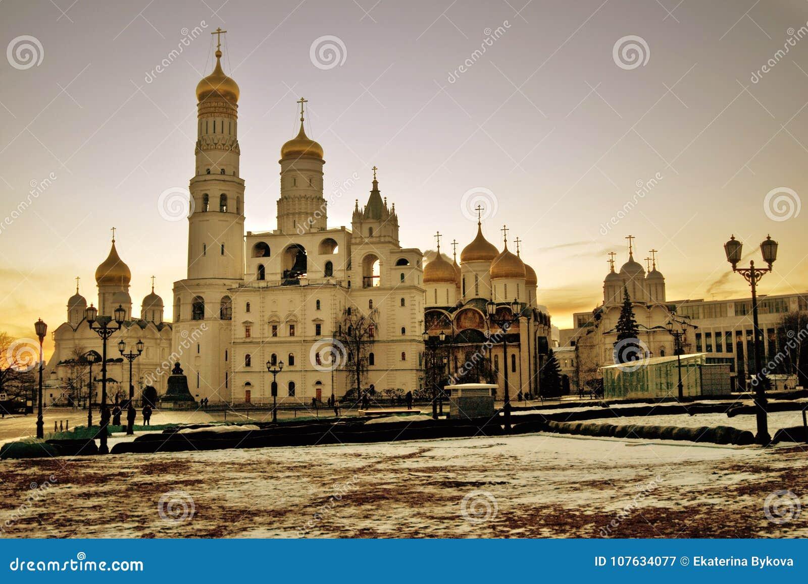 Kerken van Moskou het Kremlin Kleurenfoto