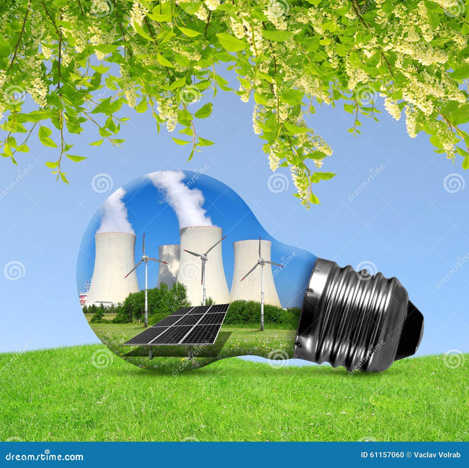 Kernenergieinstallatie met zonnepaneel en windturbines in lightbulb
