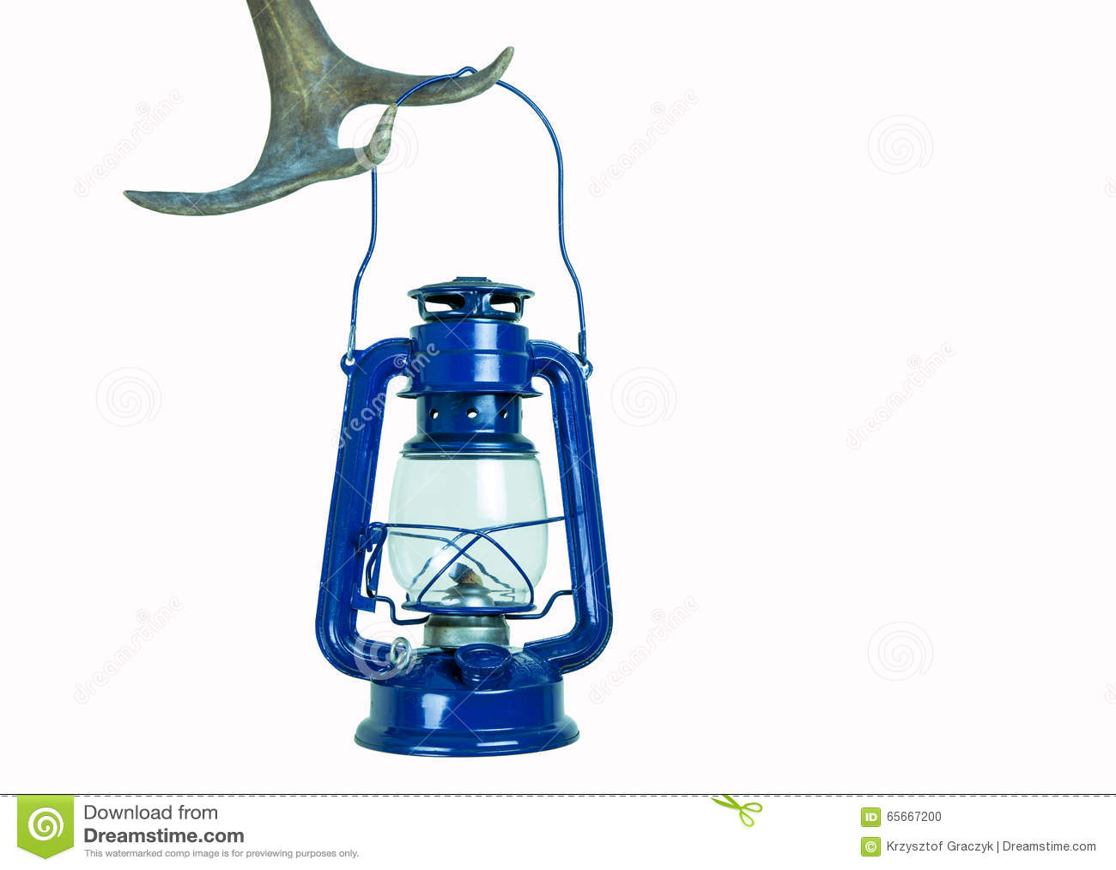 Kerosene lamp on antler ( isolated)