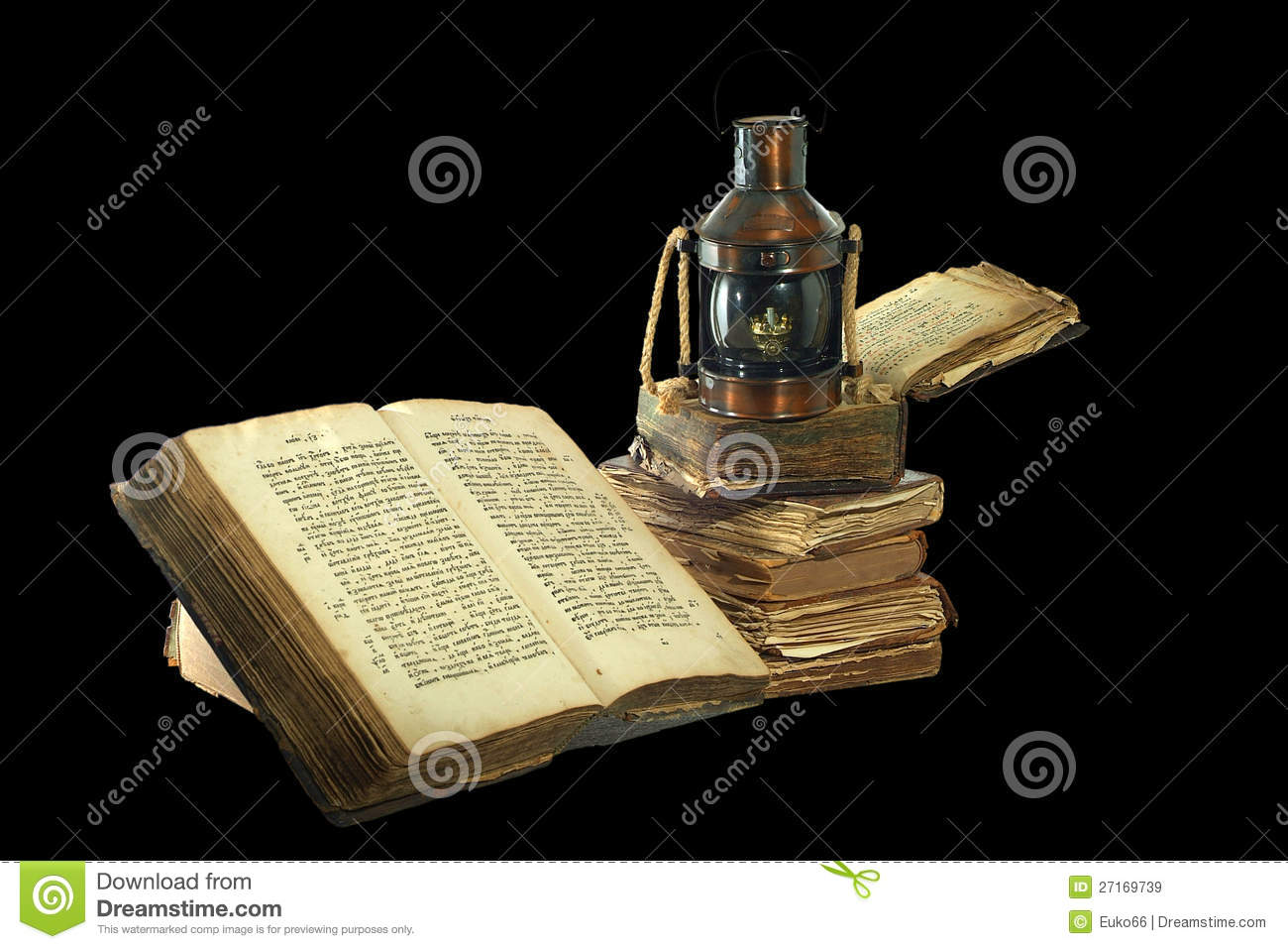 Kerosene Lamp And Old Books. Stock Image