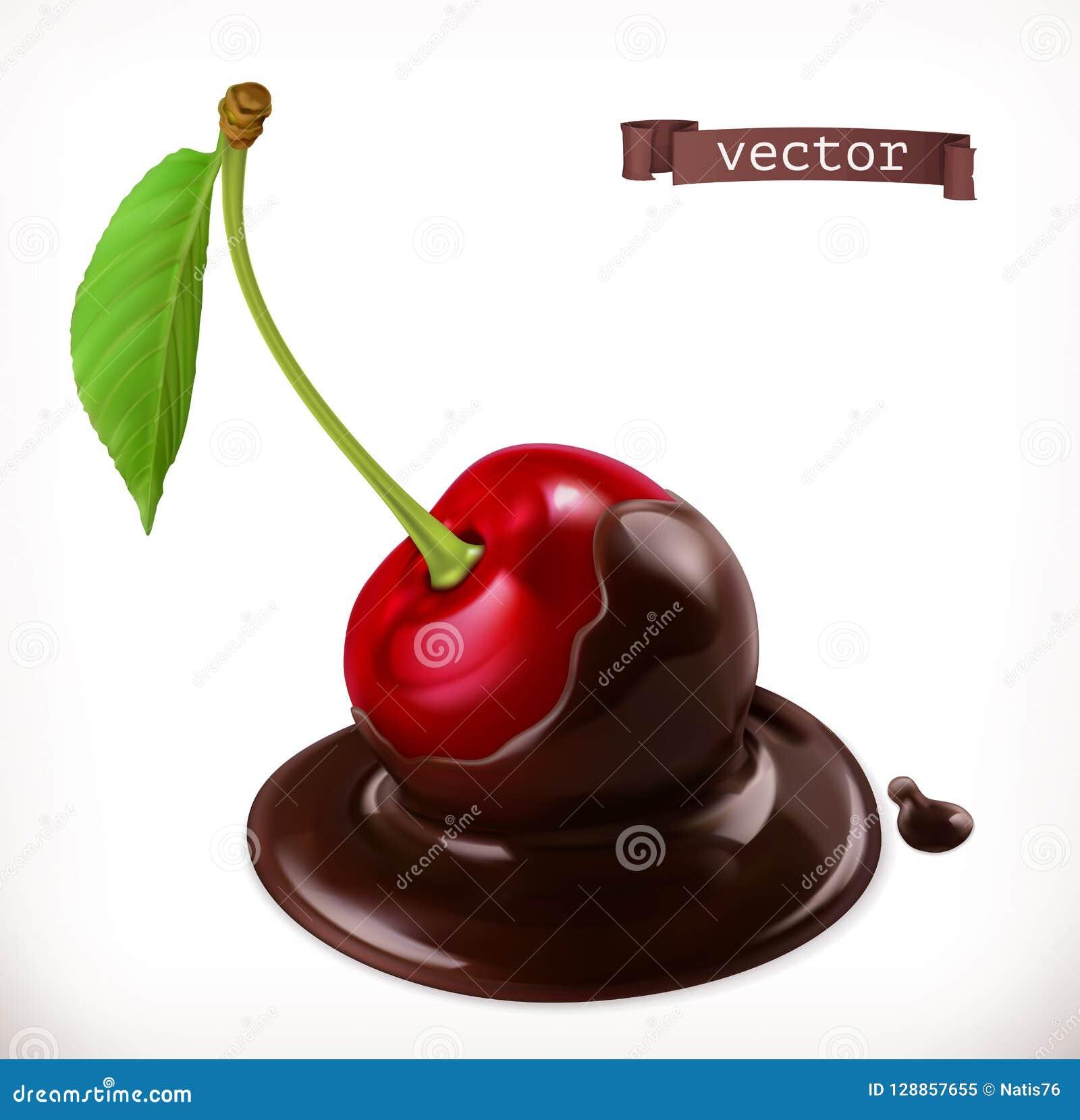 Kers in chocolade 3d vectorpictogram