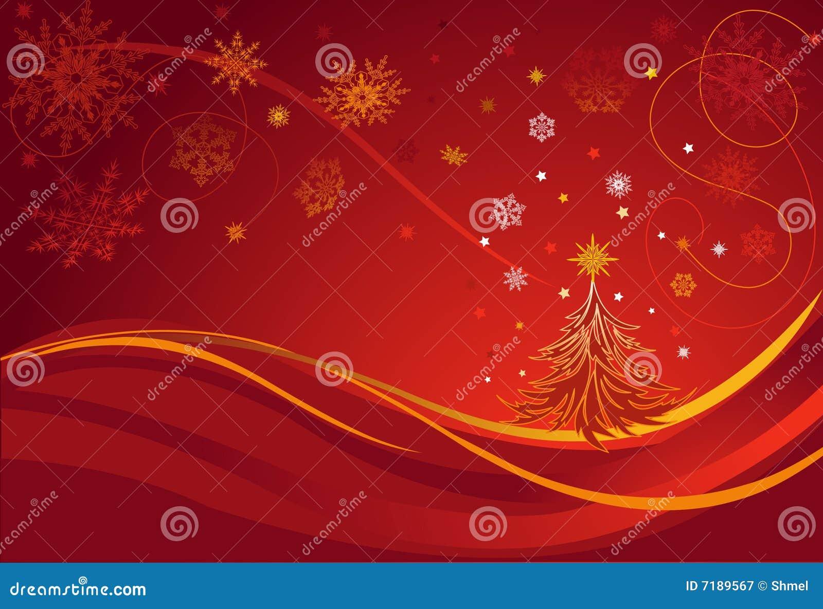 Kerstboom. De Kaart van de groet. Rode Achtergrond.