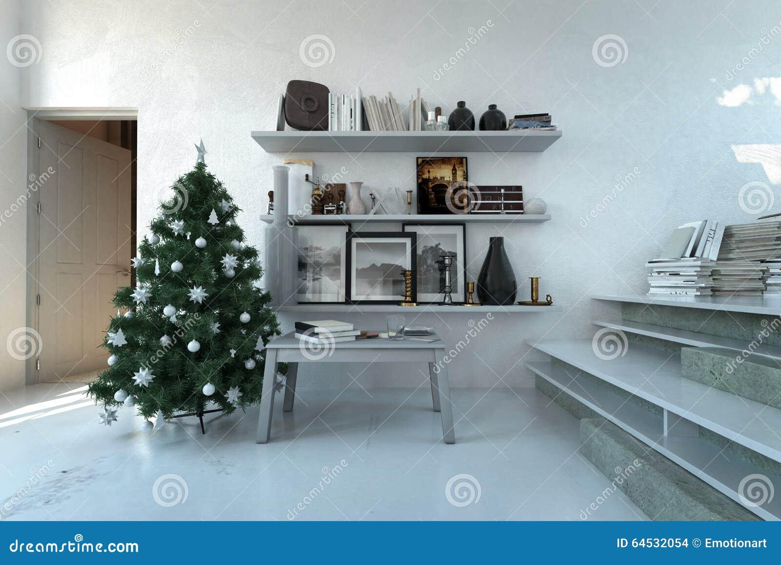 Kerstboom in een moderne witte woonkamer stock illustratie ...