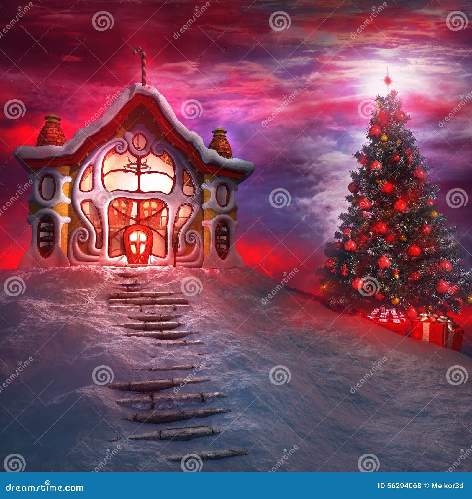 Kerstboom en het huis van de kerstman stock illustratie afbeelding 56294068 for De ingang van het huis