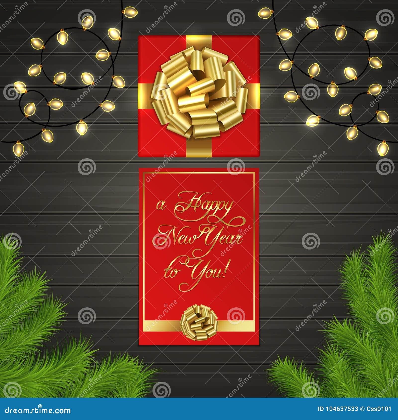 Download Kerstboom, Giftdoos, Slinger, Gouden Lintboog Vector Illustratie - Illustratie bestaande uit goud, illustratie: 104637533