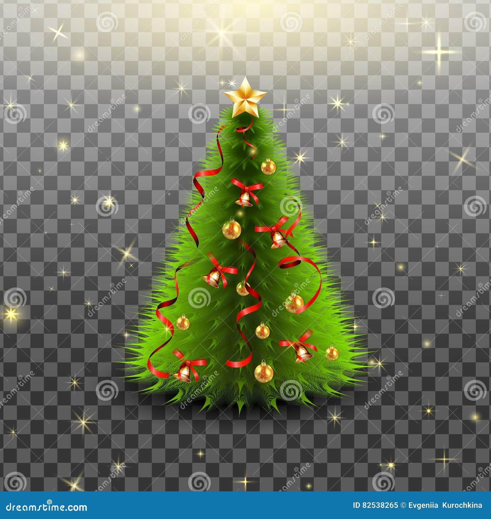 kerstboom met klokken gouden ballen rode die boog en linten op transparante achtergrond. Black Bedroom Furniture Sets. Home Design Ideas