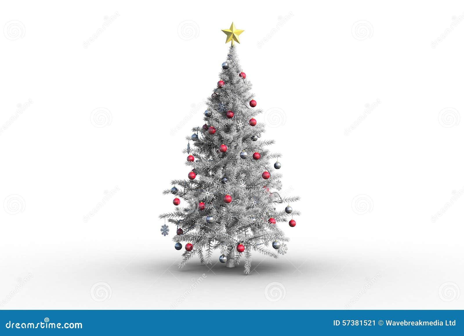 Kerstboom met snuisterijen en ster