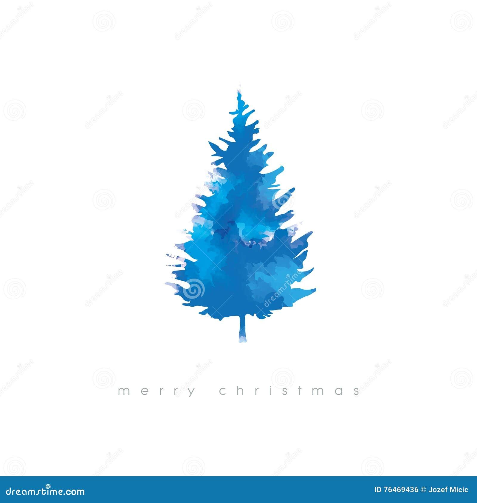 Kerstboom vectorillustratie met waterverftextuur Koud de kaartmalplaatje van de winter artistiek Kerstmis