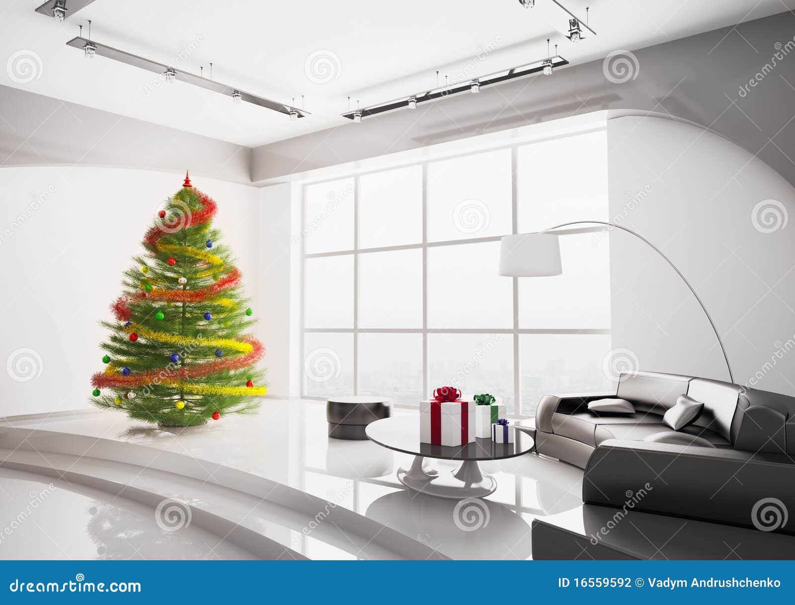 Kerstboom In Woonkamer Binnenlandse 3d Stock Illustratie ...