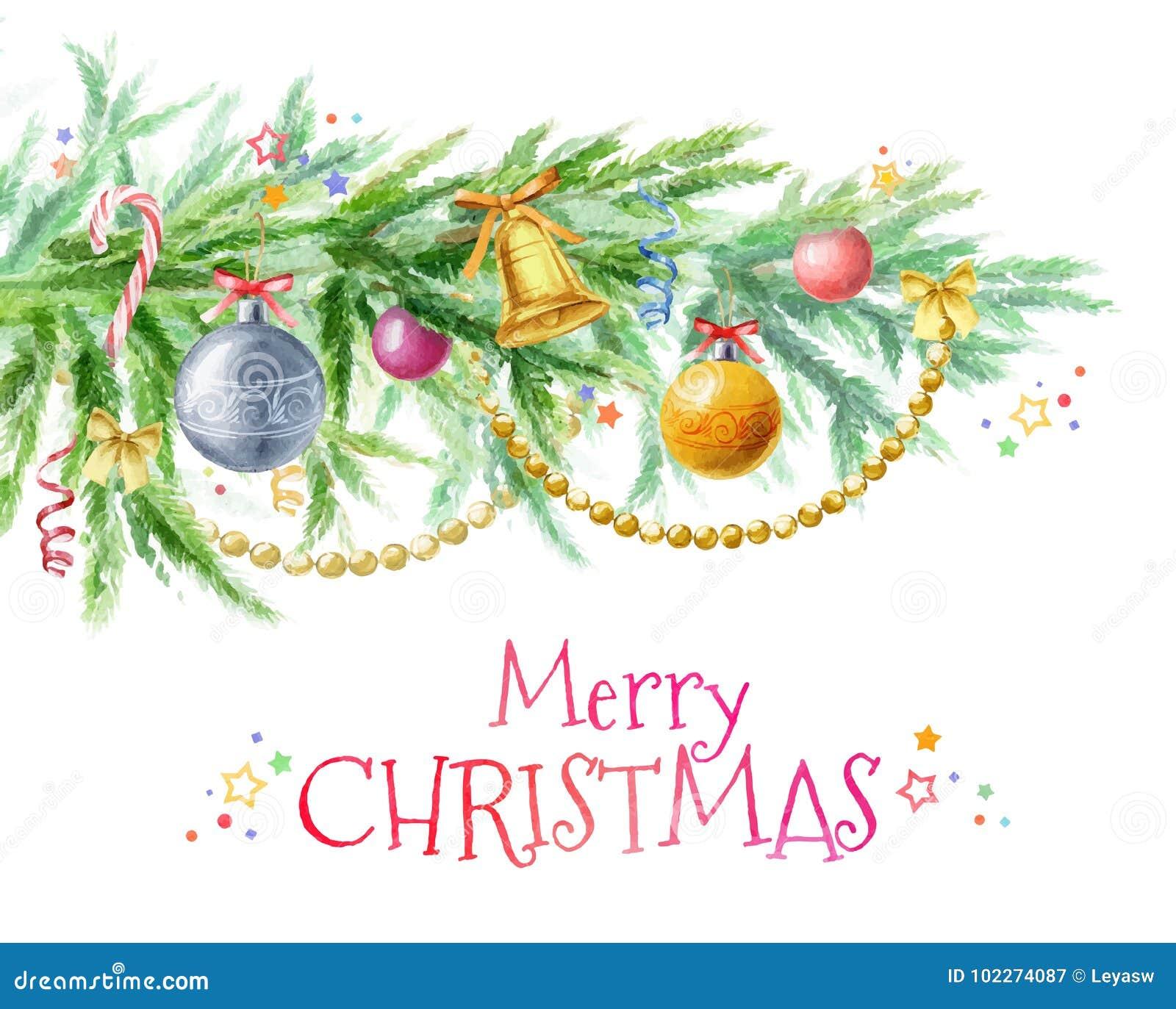 Kerstboomtak met decor van speelgoed, ballen, parels en klokken