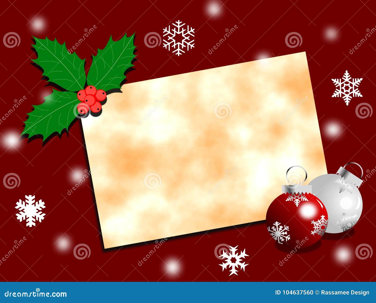Download Kerstkaart Met Document En Decoratie Stock Illustratie - Illustratie bestaande uit ornament, helder: 104637560