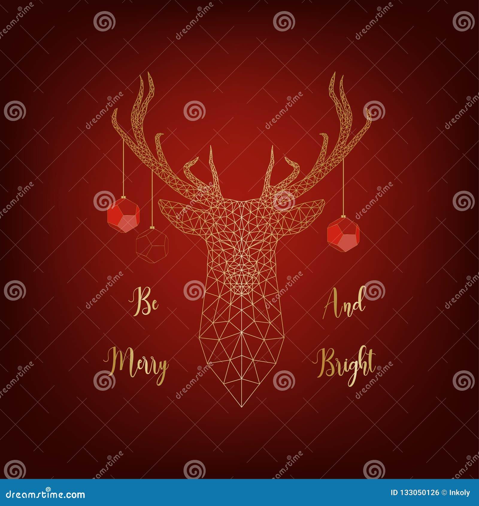 Kerstkaart met gouden die herten door ballen wordt de verfraaid en tekst vrolijk en helder is op rode achtergrond