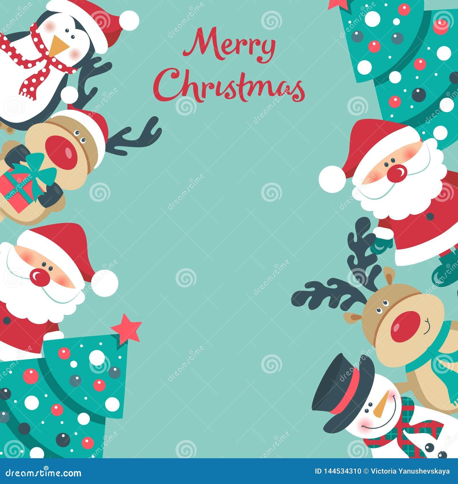 Kerstkaart met Kerstman, boom sneeuwman, herten en pinguïn ,