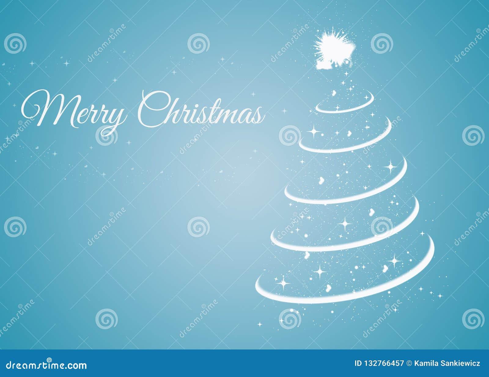 Kerstkaart met Kerstmisboom op blauwe achtergrond