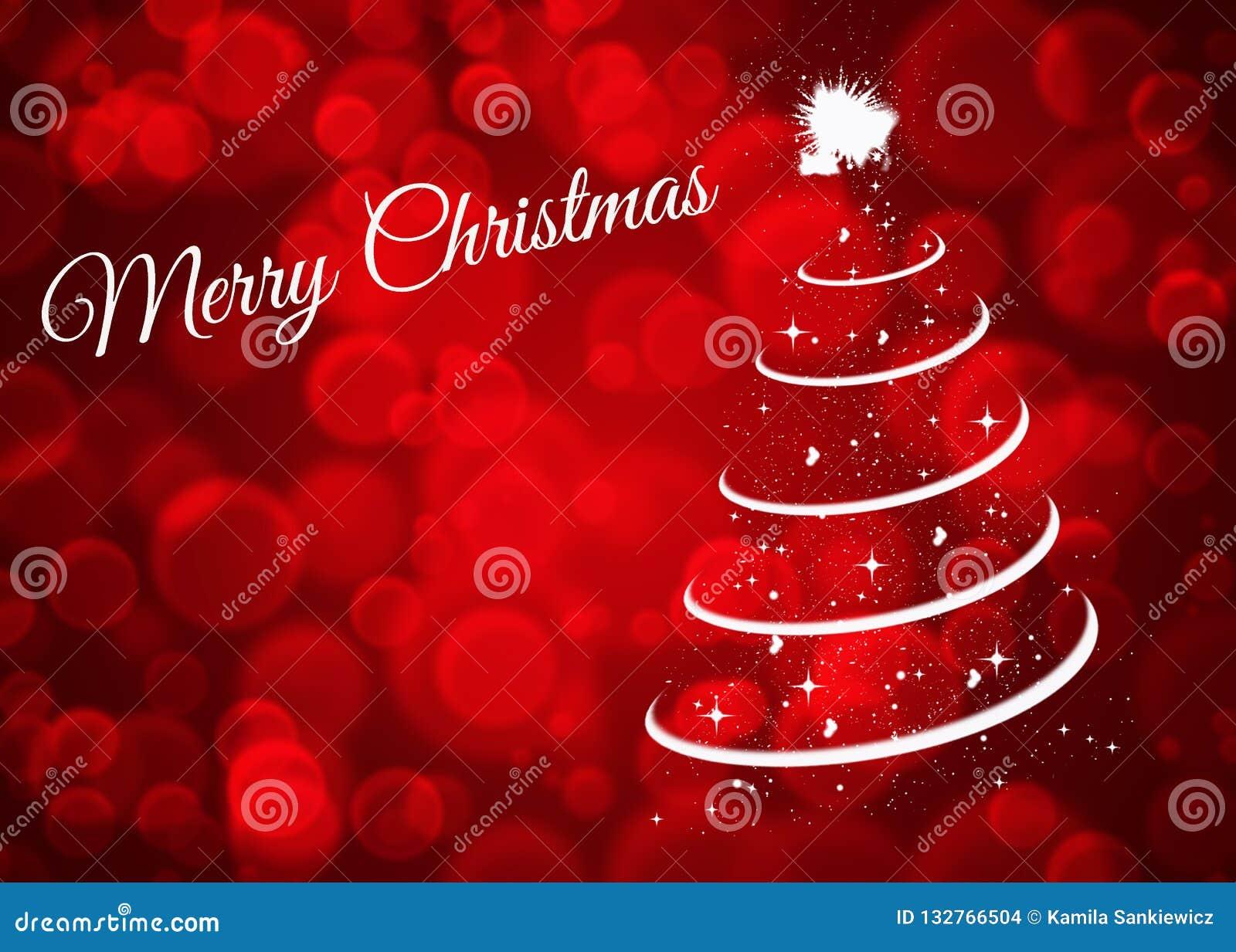 Kerstkaart met Kerstmisboom op rode achtergrond