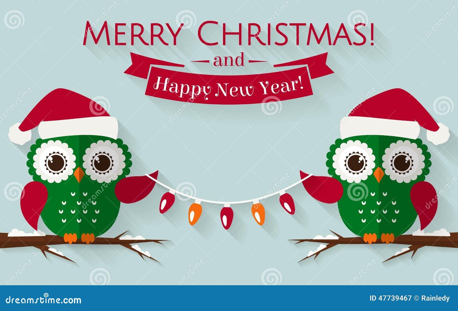 Vrolijke Kerstmis en Gelukkig Nieuwjaar! Groetkaart met leuke uilen in ...: nl.dreamstime.com/stock-illustratie-kerstkaart-met-leuke-uilen-en...