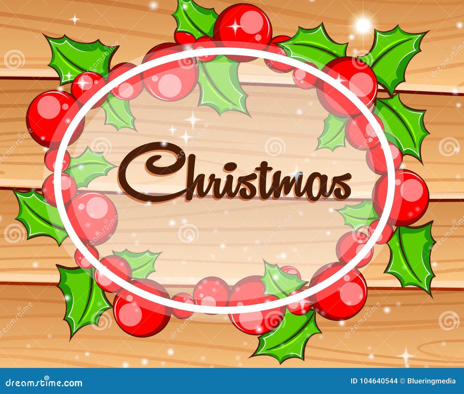 Download Kerstkaart Met Mistletoes Op Houten Raad Vector Illustratie - Illustratie bestaande uit affiche, vrolijk: 104640544