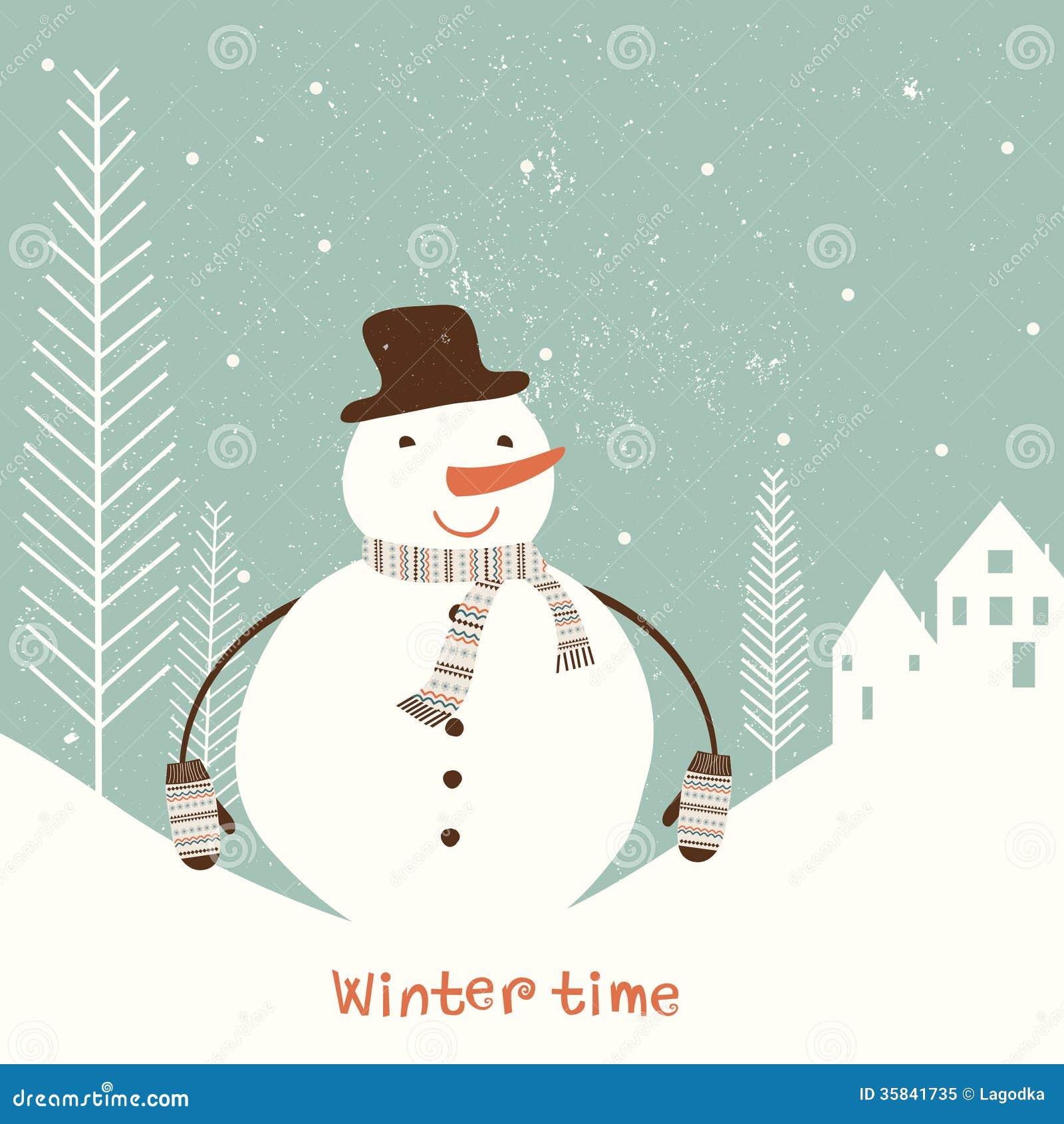 Kerstkaart met sneeuwman.