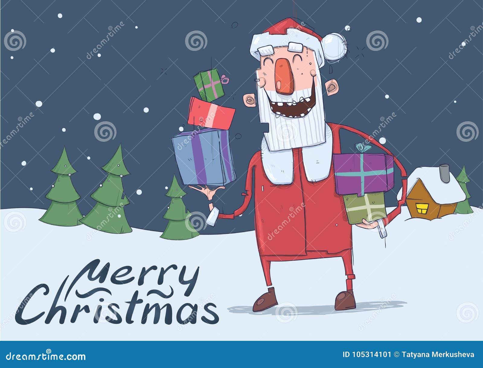 Kerstkaart Van Grappige Glimlachende Santa Claus Kerstman Met