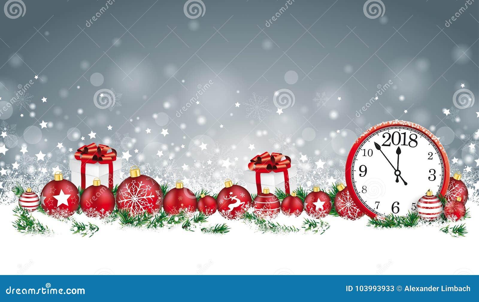Kerstkaartkopbal Gray Snowflakes Baubles Gifts Clock 2018