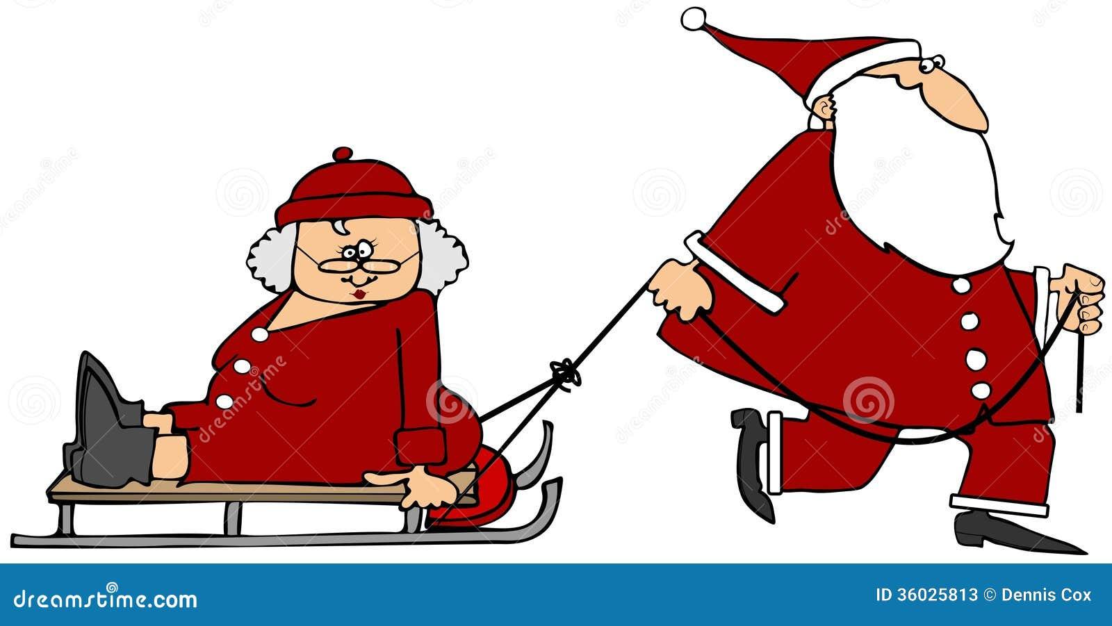Kerstman die Mevr. Claus op een slee trekken