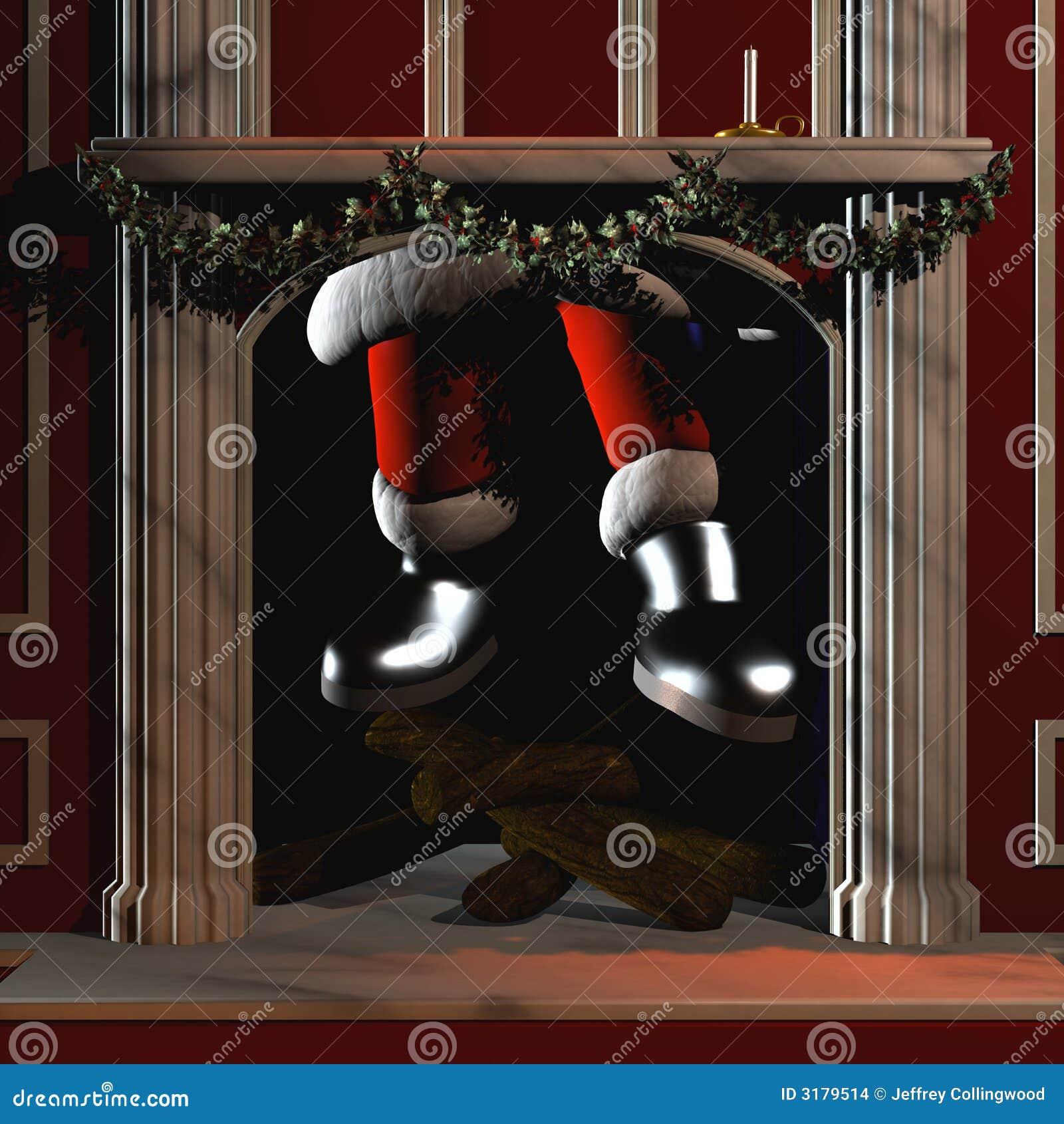 Kerstman die onderaan Schoorsteen 5 gaan