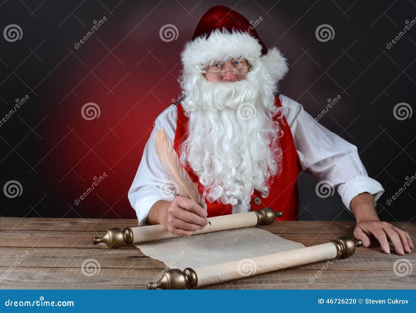 Kerstman die zijn lijst maken stock foto afbeelding 46726220 - Maken van zijn boekenkast ...
