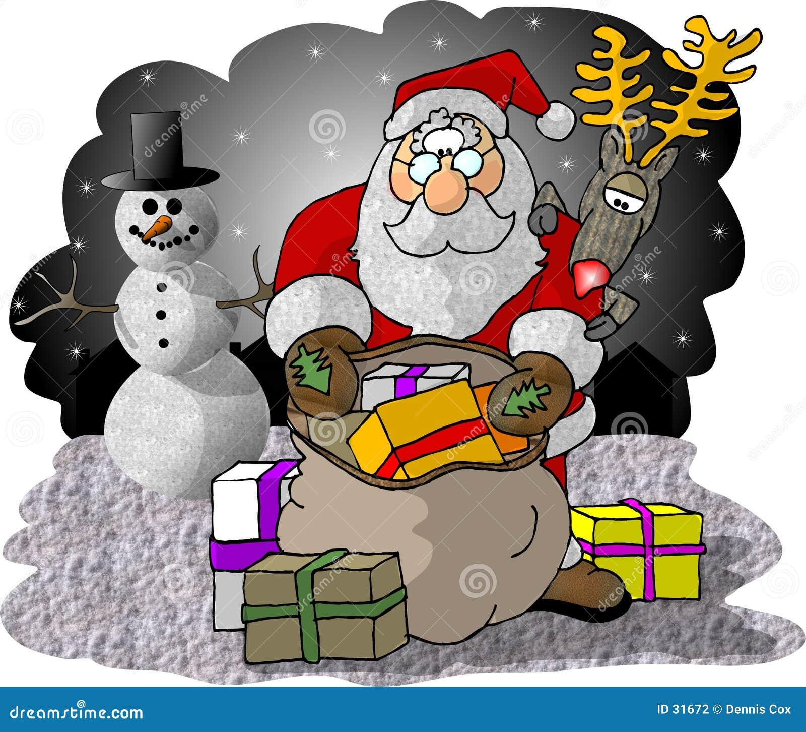 Kerstman die zijn Zak van Giften controleren