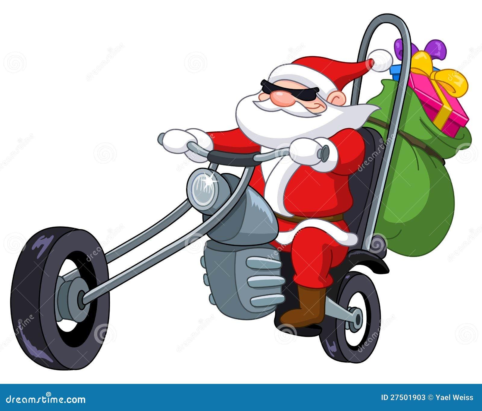kerstman met motorfiets vector illustratie illustratie. Black Bedroom Furniture Sets. Home Design Ideas