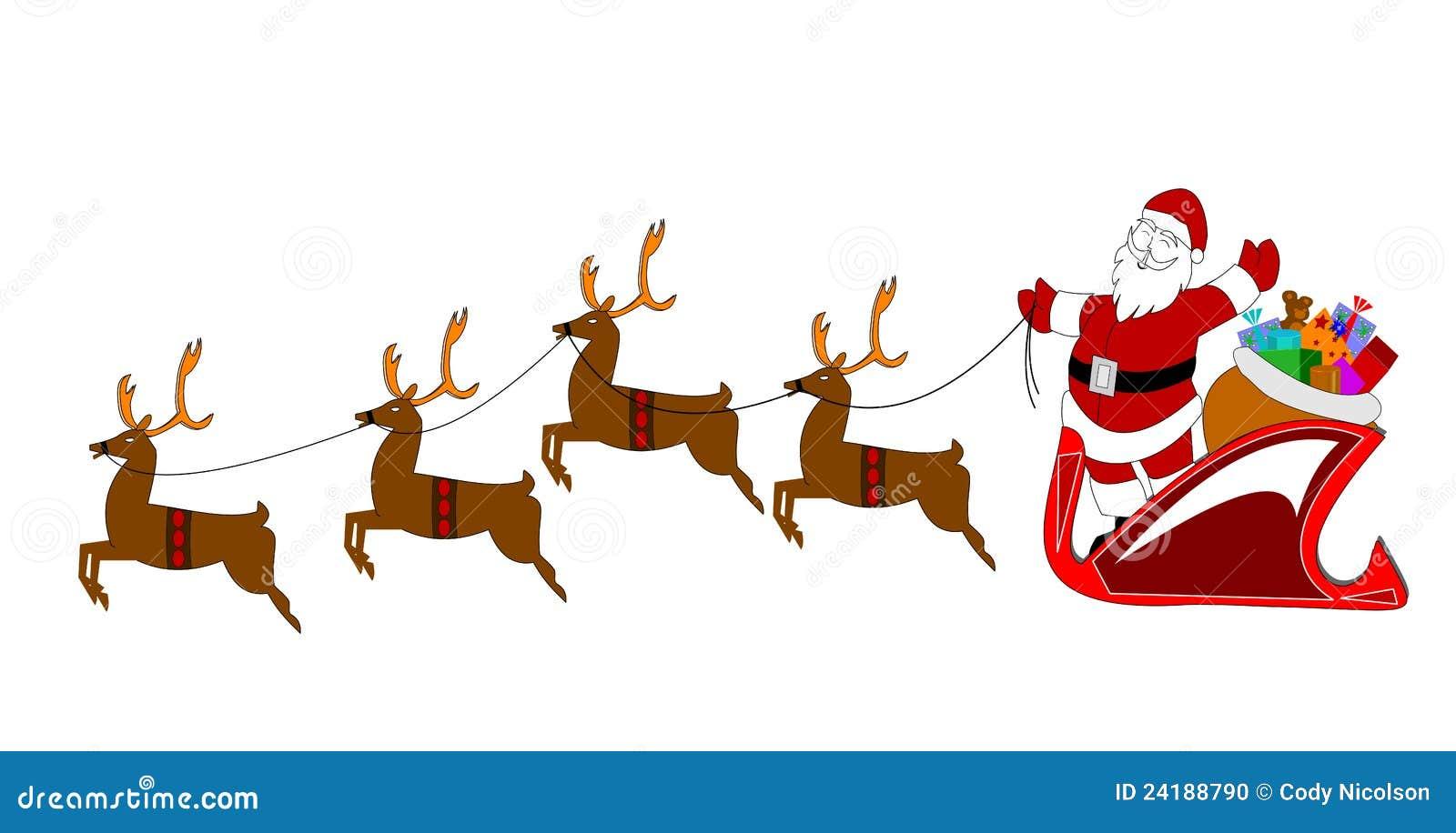 Wonderbaarlijk Kerstman Met Rendier Over Wit Stock Illustratie - Illustratie FN-23